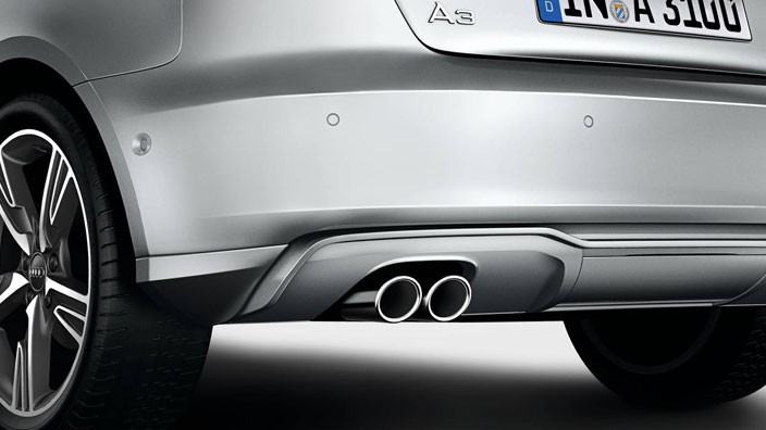 Sports-style tailpipe trims - Double tailpipe, Chrome